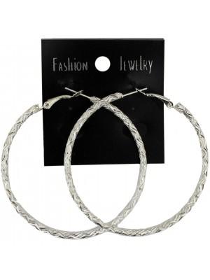 Silver Patterned Hoop Earrings - 6cm