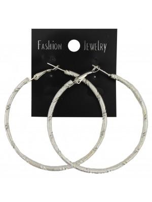 Silver Pattern Hoop Earrings - 6cm