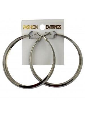 Silver Side Pattern Hoop Earrings - 6cm