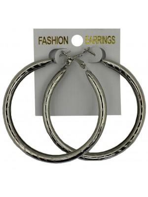Silver Basic Pattern Hoop Earrings - 5cm