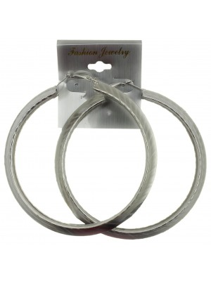 Silver Basic Pattern Hoop Earrings - 9cm