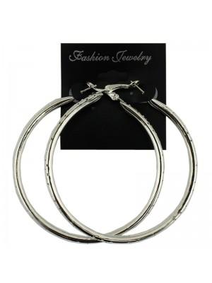 Thin Perforated Silver Hoop Earrings - 7cm