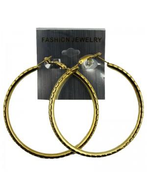 Gold Hole Design Hoop Earrings - 7cm