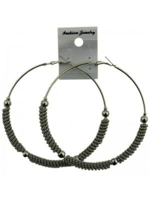 Silver Half Chain Pattern Hoop Earrings - 8cm