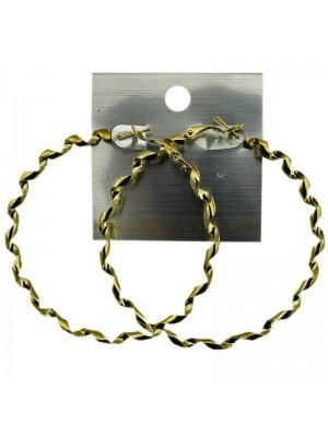 Gold Twist Hoop Earrings - 6cm