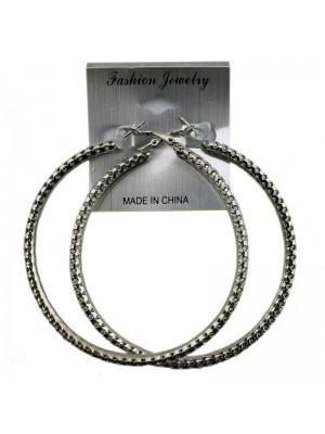 Silver Hole Design Hoop Earrings - 8cm