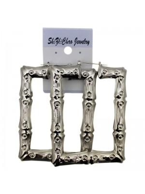 Silver Rectangle Bamboo Hoop Earrings - 6cm