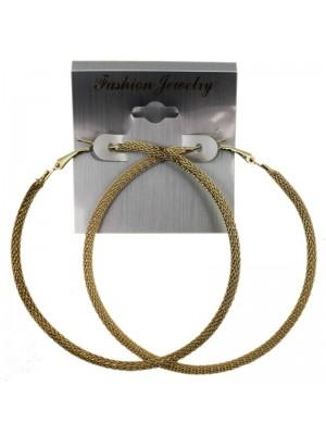 Gold Textured Hoop Earrings - 7cm