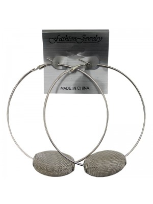 Silver Hoop Earrings with Textured Ball - 8cm