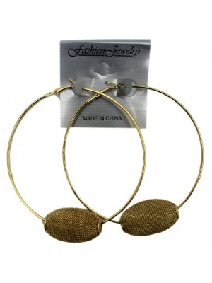 Gold Hoop Earrings with Textured Ball - 8cm