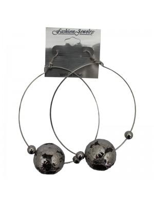 Silver Dangle Hoop Earrings With Ball - 7cm
