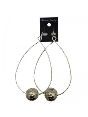 Silver Dangle Hoop Earrings With Ball - 6cm