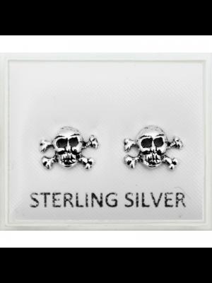 Sterling Silver Skull Studs - 8mm