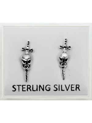 Sterling Silver Skull on Cross Studs - 8mm
