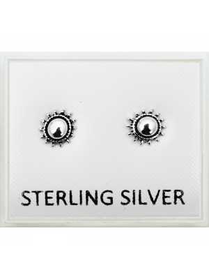 Sterling Silver Sun Design Studs - 5mm