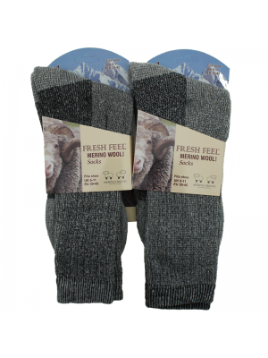 Mens Fresh Feel Merino Wool Plain Socks - Grey