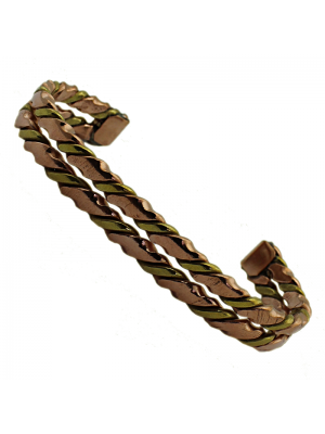 Two Tone Double Copper Bracelet with Brass Inlay