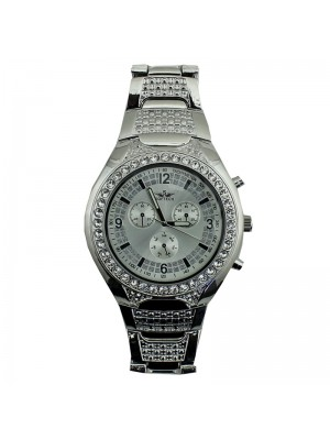 Softech Mens 3 Dial Design Fashion Watch Metal Strap - Silver