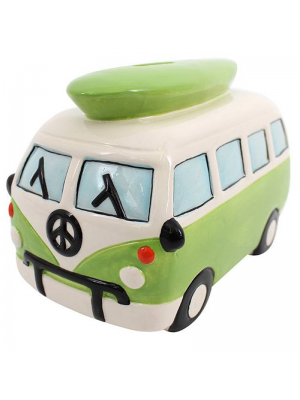 Green Camper Van Moneybox - 14cm