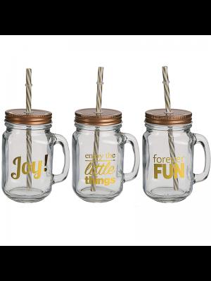 Joy & Fun Drinking Jars