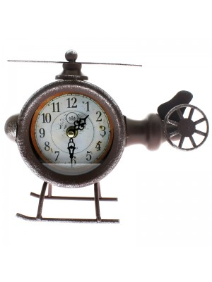 Metal Mantel Clock - Old Fashioned Helicopter - 22cm