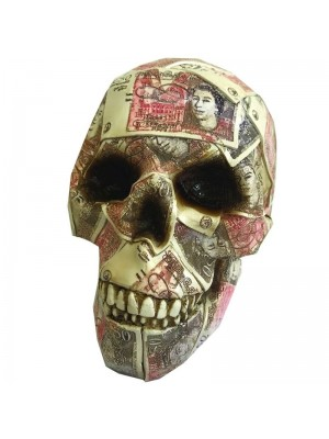 Fifty Pound Skull Design Money Box - 19.5cm