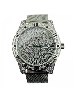 NY London Mens Crystal Encrusted Metal Bracelet Watch Strap - Silver
