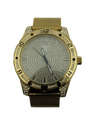 NY London Mens Crystal Encrusted Metal Bracelet Watch Strap - Gold