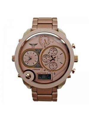 NY London Mens 4 Quad Time Display Watch - Rose