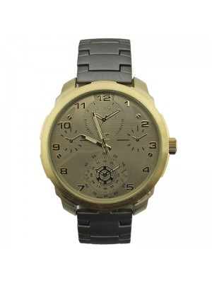NY London Mens 4 Dial Display Watch - Gold/Grey