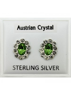 Sterling Silver Austrian Crystal Oval Studs - Assorted Colours (10mm)