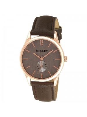 Mens Henley Fashion Watch with Faux Leather Strap - Brown