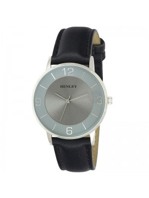 Mens Henley Classic Fashion Watch with Leather Strap - Black