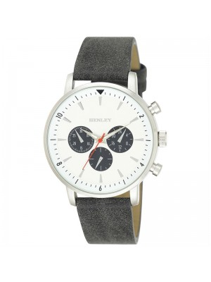 Mens Henley Fashion Watch with Leather Strap - Grey