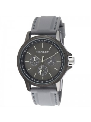Mens Henley Fashion Watch with Silicone Strap - Grey
