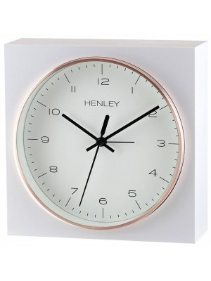 Henley Table/Wall Alarm Clock - Rose Gold/White - 16.5cm