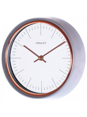 Henley Metal Wall Clock - Grey/Rose Gold - 25cm