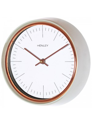 Henley Metal Wall Clock - Green/Rose Gold - 25cm