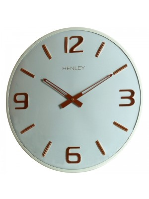 Henley Modern Wall Clock - Blue/Rose Gold - 40cm