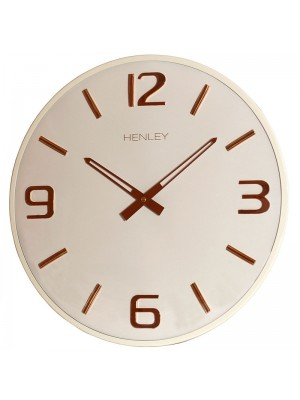 Henley Modern Wall Clock - Cream/Rose Gold - 40cm