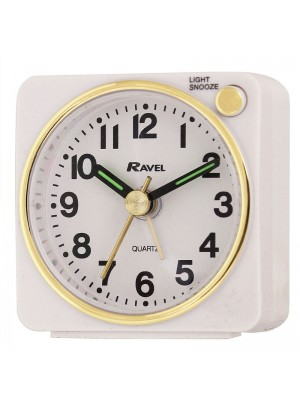 Ravel Quartz Mini Alarm Clock - White/Gold