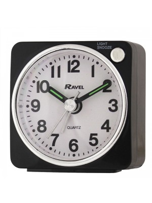 Ravel Quartz Mini Alarm Clock - Black