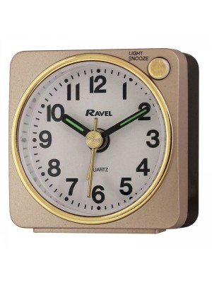 Ravel Quartz Mini Alarm Clock - Gold