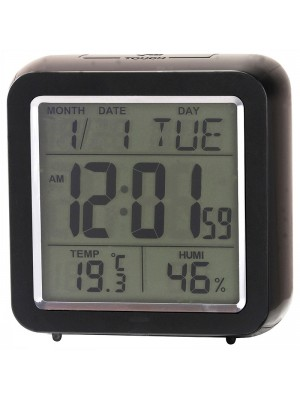 Ravel Quartz LCD Alarm Clock - Black