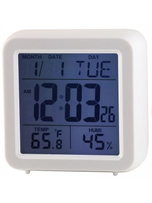Ravel Quartz LCD Alarm Clock - White