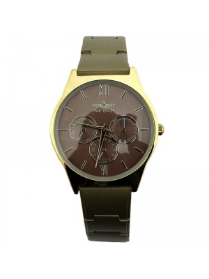Softech Ladies 3 Dial Metal Strap Fashion Watch - Beige