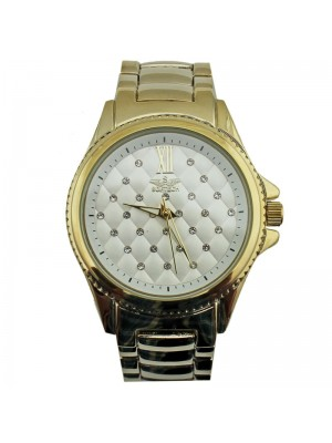 Softech Ladies Diamante Dial Metal Strap Watch - Gold/White
