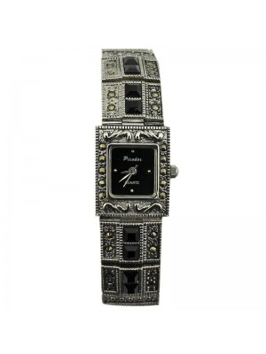 Softech Ladies Square Design Fashion Watch - Black/Silver