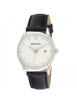 Mens Henley Classic Watch with Leather Strap - Black/Silver