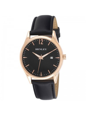 Mens Henley Classic Watch with Leather Strap - Black/Rose Gold